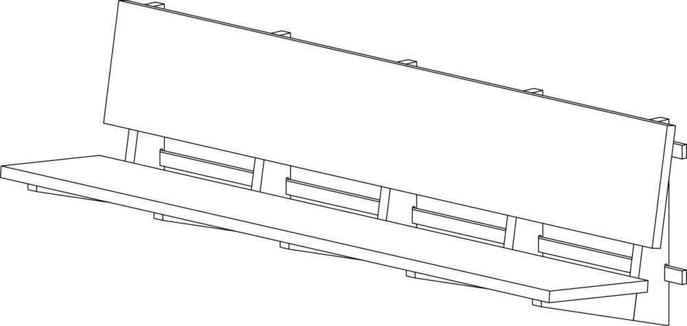 NB 51 væghængt bænk perspektiv tegning